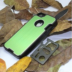 The Bop Wolf !!! Appbox Multifunction Knives Protective Hard Shell Case Mobile Phone Shell Protective Metal Shell For Iphone 4 / 4S -Green