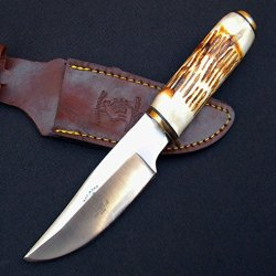 (Ajshears)-Bone Collector Hunting Knife Camel Bone Handle Bc788