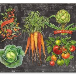 Counterart Chalkboard Veggies Glass Cutting Board, 14-7/8 By 11-3/4-Inch