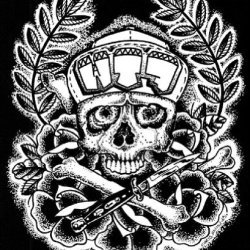 Eff That! By Chris Smith Skull And Crossbones W Switchblade Canvas Art Print