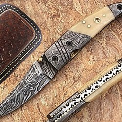 Celebrities Pocket Knife Damascus Steel Blade Bone Handle