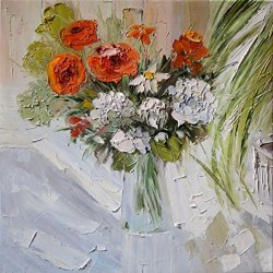 Knife Painting Collect Unframed Painting On Canvas Palette Knife Simple Flower 12X12 In/30X30Cm