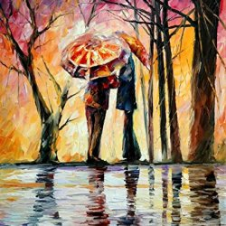 Decorative Room (Unframe And Unstretch) 100% Hand-Painted Palette Knife Oil Painting On Canvas,Rainy Date,24 X 30 Inch