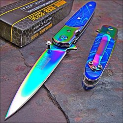 Tac-Force Assisted Opening Rainbow Spectrum Blue Swirl Celluloid Handles Knife!!
