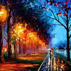 Leonid Afremov Alley By The Lake Palette Knife Handmade Modern Impressionist Art Oil Painting On Canvas, 40 By 30-Inch/100 By 75Cm