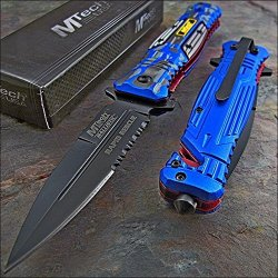 Mtech Ballistic Blue Camo Glass Breaker Rescue Pocket Knife