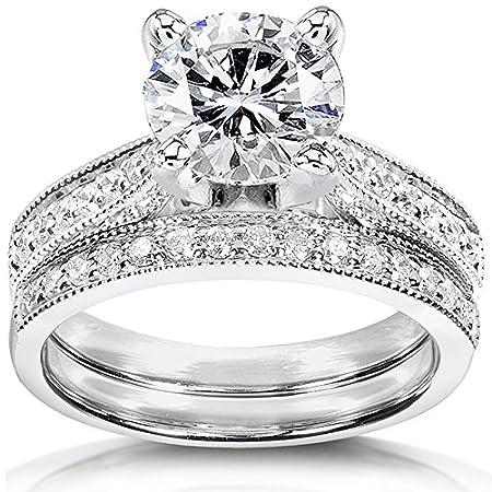 Round Moissanite & Diamond Bridal Set 2 1/3 Carat (ctw) in 14k White Gold
