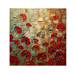 H.Cozy Art - Butterfly Loves Flowers 100% Hand-Painted Modern Canvas Wall Art Floral Oil Paintings On Canvas For Home Decor Ft197 (No Frame)