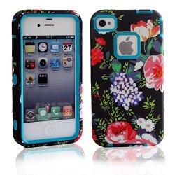 Meaci® Cellphone Case For Apple Iphone 4 4S Case 3 In 1 Pc & Soft Rubber Combo Hybrid With Luxury Flower Durable Floral Pattern Case (Black And Cyan Rose)