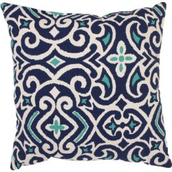 Pillow Perfect Blue/White Damask 18-Inch Throw Pillow