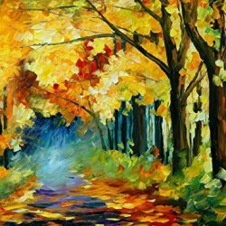 Original Painting Yellow Fog Park Painting Contemporary Artwork Knife Paintng Oil Painting Wall Art Canvas Unframed Painting 32X24In/80X60Cm