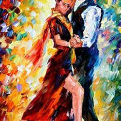 Romantic Tango Palette Knife Oil Painting On Canvas Wall Art Deco Home Decoration 24 X 36 In Unframed