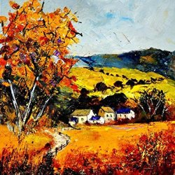 Modern Art Canva Old House Painting Knife Paintng Wall Art Canvas Unframed Painting 20X20In/50X50Cm