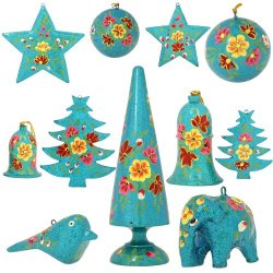 Set Of 11 Turquoise Paper Mache Valentine Ornaments - Handmade Indian Gifts