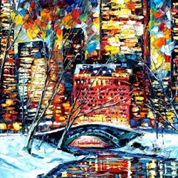 Fine Art Painting Superb Quality And Craftsmanship On Canvas Palette Knife Snow In New York 30 X 24 In Unframed