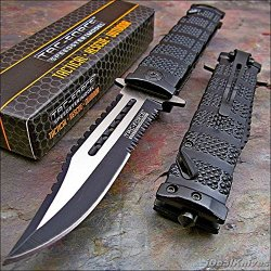 Tac Force Black Assisted Open Sawback Bowie Tactical Rescue Pocket Knife