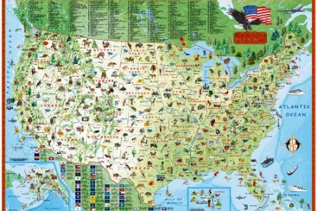 children's map of the united states (laminated illustrated