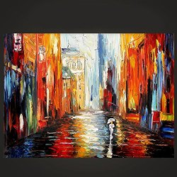 Original Painting Busy Road Painting Contemporary Artwork Knife Painting Oil Painting Wall Art Canvas Unframed Painting 24X24In/60X60Cm