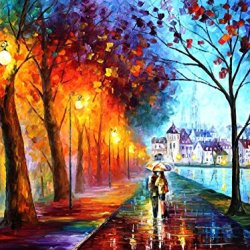 Hand-Painted Beatifuly Oil Paintings With Palette Knife On Canvas Modern Art Living Room Furniture (City By The Lake) - 20 X 15 Inch , Unframed