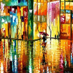 Leonid Afremov Midnight Rhythm Palette Knife Handmade Modern Impressionist Art Oil Painting On Canvas, 30 By 30-Inch/75 By 75Cm