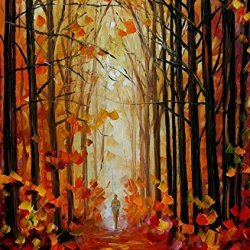 Hand-Painted Artwork Living Room Bedroom Corridor Decor Art Beatifuly Palette Knife Oil Paintings On Canvas (Orange Path) - 24 X 36 Inch , Unframed
