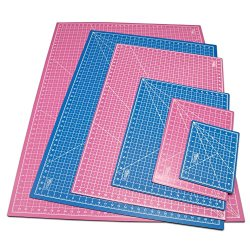 "Us Art Supply® 12"" X 18"" Pink/Blue Professional Self Healing 5-Ply Double Sided Durable Non-Slip Pvc Cutting Mat Great For Scrapbooking, Quilting, Sewing And All Arts & Crafts Projects (Choose Green/Black Or Pink/Blue Below)"