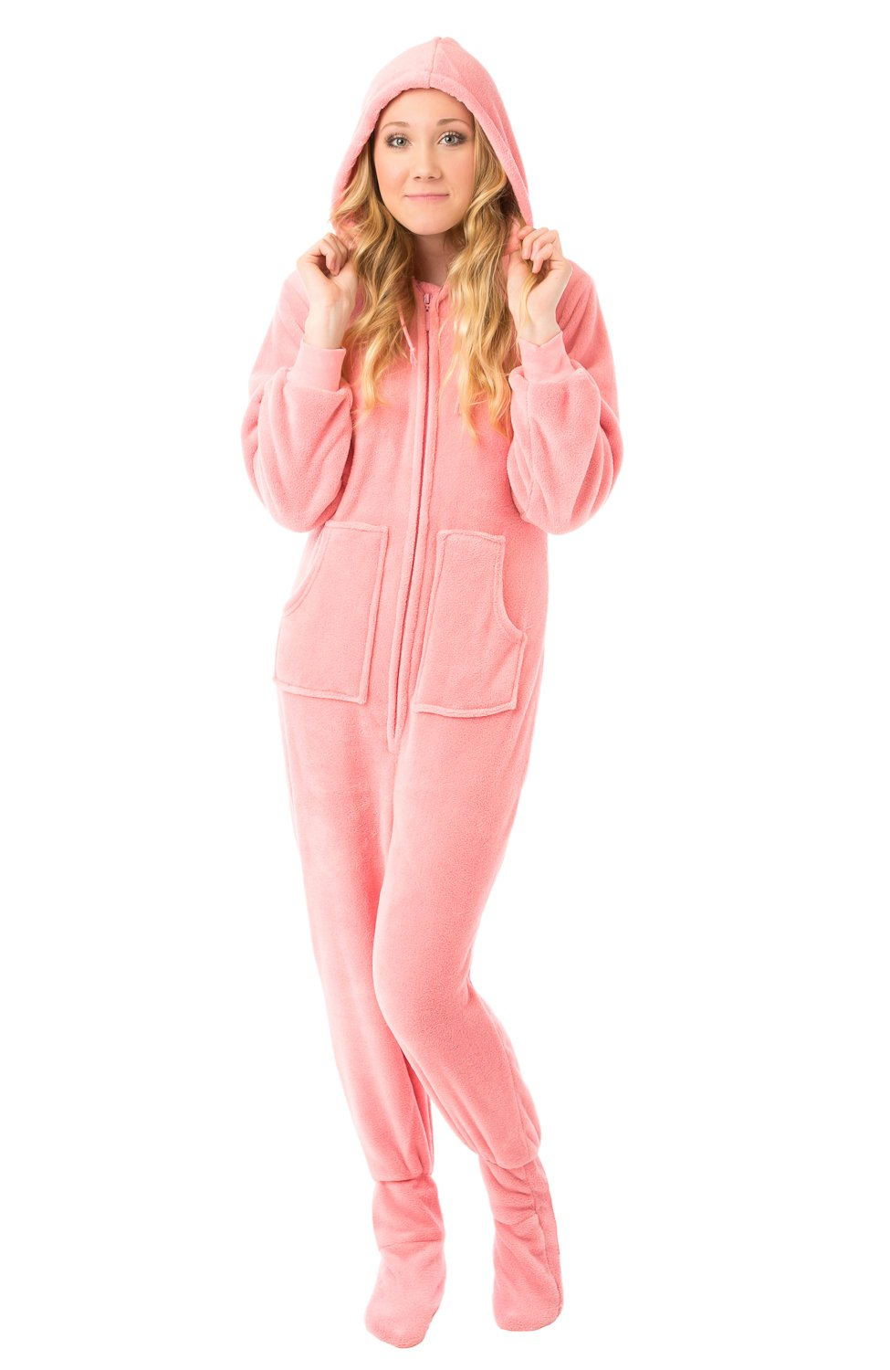 Big feet pjs pink hoodie plush footed pajamas w drop seat