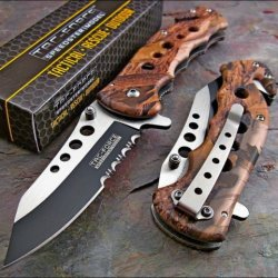 Tac-Force High Def Woodland Camo Rescue Folding Pocket Knife!