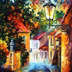 Modern Art Canvas Wall Art Evening Palette Knife Painting On Canvas For Home Decor 15X20In 37.5X50Cm Unframed