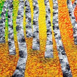 Fine Art Artwork Unframed Knife Painting Palette Knife Modern Home Decor Art On Canvas Colorful Autumn 12X9 In/30X22.5Cm