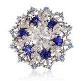 Weihnachten-Geschenk-Geschenk-fr-sie-Farbe-Silber-Swarovski-Elements-Kristalle-wei-blaue-Schneeflocken-Brosche-und-Anhnger-14K-vergoldet