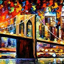 Leonid Afremov Brooklyn Bridge Palette Knife Handmade Modern Impressionist Art Oil Painting On Canvas, 40 By 24-Inch