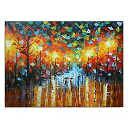 Malmo Romantic In The Raining Street Knife Oil Painting On Canvas
