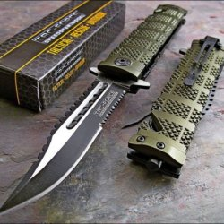 Tac Force Assisted Open Green Sawback Bowie Rescue Tactical Pocket Knife