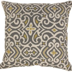 Pillow Perfect Gray/Greenish-Yellow Damask 23-Inch Floor Pillow