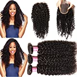 KLAIYI Brazilian Curly Hair 3 Bundles with 1pc Lace Closure 4*4Inch Free Part 12 14 16+10inch Closure Multiple Choice Real Virgin Human Hair Weave Extensions 85-100g/lot Natural Color