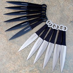 "12 Pc 6"" Ninja Tactical Combat Naruto Kunai Throwing Knife Set W/ Sheath 6232-"
