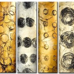 Sangu Wood Framed Metal Bands Abstract Home Decoration Modern Oil Painting Gift On Canvas 4-Piece Art Wall Decor