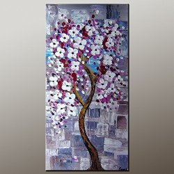 Modern Art Canva White Purple Petal Painting Knife Painting Wall Art Canvas Unframed Painting 24X48In/60X120Cm