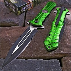 Zombie Hunter Assisted Toxic Green Dagger Spear Point Knife New!!!