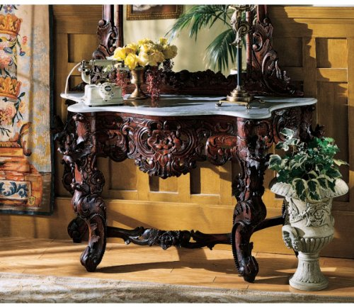 Image of Hand-carved Solid Mahogany Antique Replica Marble Topped Console Table (GR325)