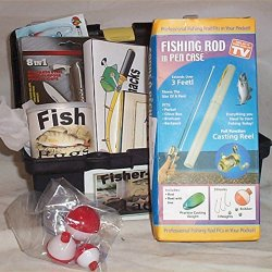 Fishing Gift Basket Pocket Rod Pen Reel Tackle Box Candy Knife Bobbers Nuts