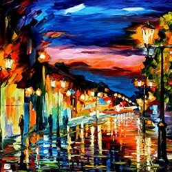 Palette Knife Canvas For Home Decoration,The Road Of Memories Wall Art 40 X 30 In Unframed