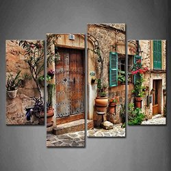 4 Panel Wall Art Streets Of Old Mediterranean Towns Flower Door Windows Painting The Picture Print On Canvas Architecture Pictures For Home Decor Decoration Gift Piece (Stretched By Wooden Frame,Ready To Hang)