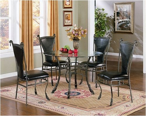 Image of Glass Top Table Leatherette Chairs Five Piece Set (VF_AZ03-11134)