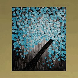 Xm Art-Light Blue Full Bloom Tree Palette Knife Landscape Oil Painting On Canvas Wall Art Deco Home Decoration(Unstretch And No Frame)