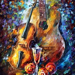 Nice Palette Knife Paintings Hand Painted Oil Painting On Canvas Wall Decor Home Decoration (Guitar And Violin) - 30 X 40 Inch , Unframed