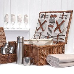 Deluxe Sandringham Family Size 4 Person Wicker Picnic Hamper Basket With Accessories For Four, Chiller Bag, Fleece Picnic Blanket, Wine Glasses, China Plates, Flask, Mugs & More - Luxury Wedding Anniversary, Enagagement, Retirement, Corporate Thank Y By F