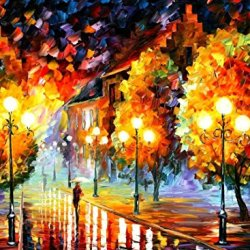 Modern Knife Painting Painting Rain In The Night City Wall Decor Superb Paintings On Canvas 40 X 30 In 100 X 75 Cm Unframed