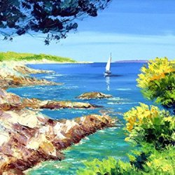 Modern Art Canva Boating Day Painting Knife Paintng Wall Art Canvas Unframed Painting 32X24In/80X60Cm